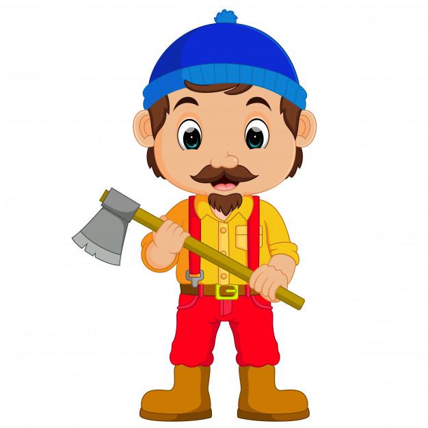 Baby holding axe clipart clip royalty free stock Cartoon lumberjack holding an axe Vector | Premium Download clip royalty free stock