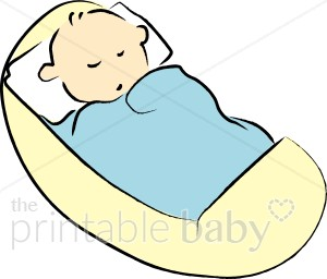 Baby in a blanket clipart clip art black and white library Baby in Yellow Cradle Clipart | Sleeping Baby Clipart clip art black and white library