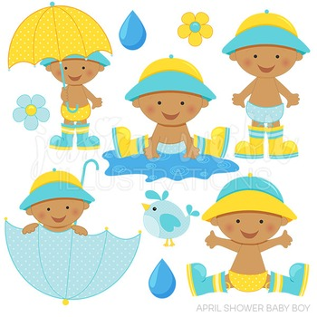 Baby in an umbrella clipart png freeuse library Dark April Shower Baby Boy Cute Digital Clipart, Baby Boy Umbrella Clip Art png freeuse library