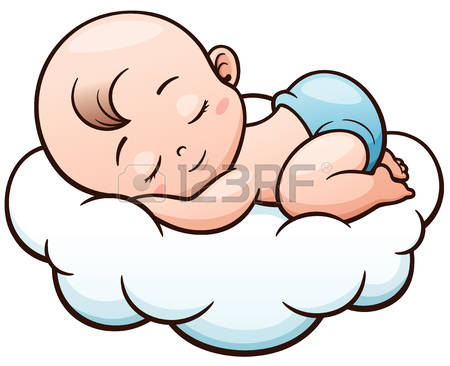 Baby in stomach clipart graphic freeuse Vector Illustration Of Cartoon Baby Sleeping On A Cloud Illust - 366 ... graphic freeuse