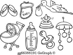 Baby items black and white clipart clip transparent stock Baby Stuff Clip Art - Royalty Free - GoGraph clip transparent stock