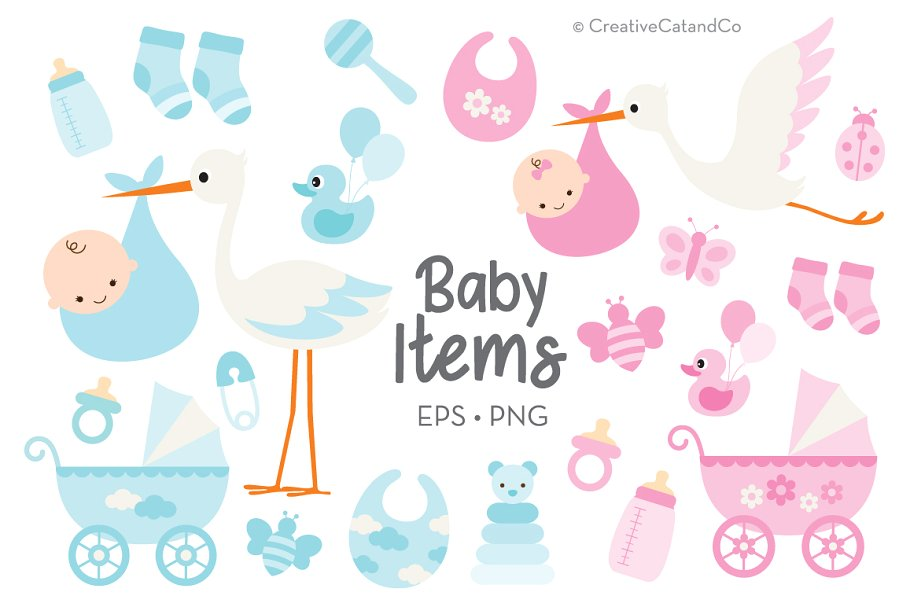 Baby items clipart svg library library Baby Shower Baby Items Boy Girl svg library library