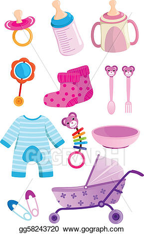 Baby items clipart jpg royalty free library Vector Stock - Baby items. Clipart Illustration gg58243720 - GoGraph jpg royalty free library