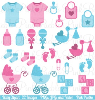 Baby items clipart clip art free Boy and Girl Baby Items Clip Art - Commercial and Personal clip art free