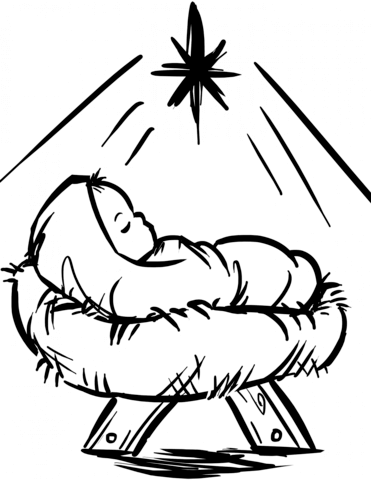 Baby jesus black silloutte clipart svg royalty free library Baby Jesus Manger Scene coloring page from Religious Christmas ... svg royalty free library