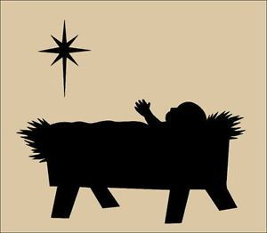Baby jesus black silloutte clipart image royalty free library Baby Jesus In A Manger Silhouette Primitive topper stencil~ baby ... image royalty free library