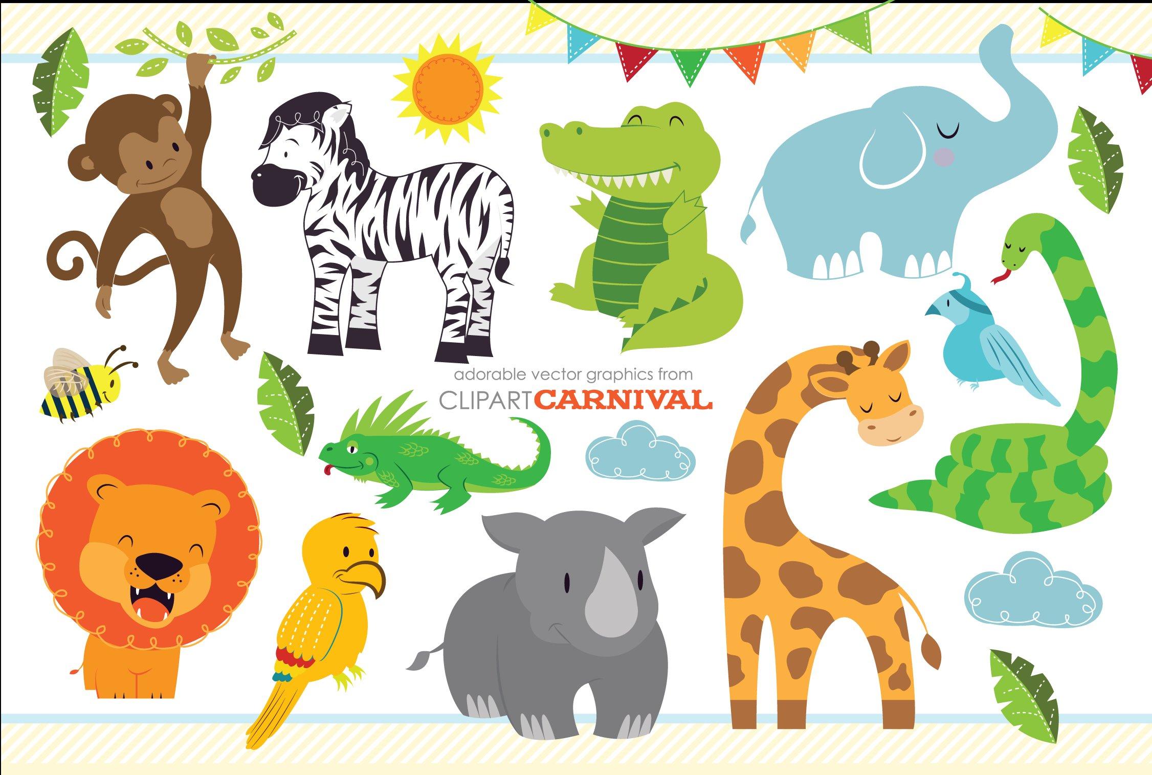 Baby jungle safari clipart clipart transparent Cute Baby Jungle Safari Animals Art clipart transparent