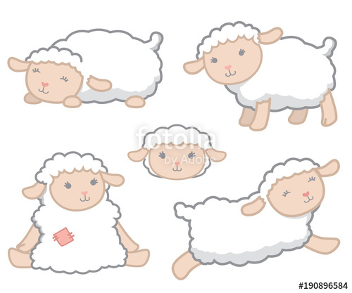 Baby lamb clipart for photoshop vector clip art download Cute Little Kawaii Style White Baby Sheep Design Elements Set Vector ... clip art download