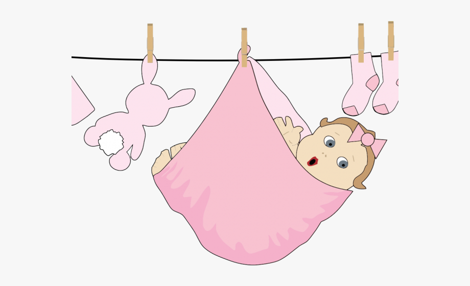 Baby laundry clipart jpg black and white Pink Baby Clothes On Line #784858 - Free Cliparts on ClipartWiki jpg black and white