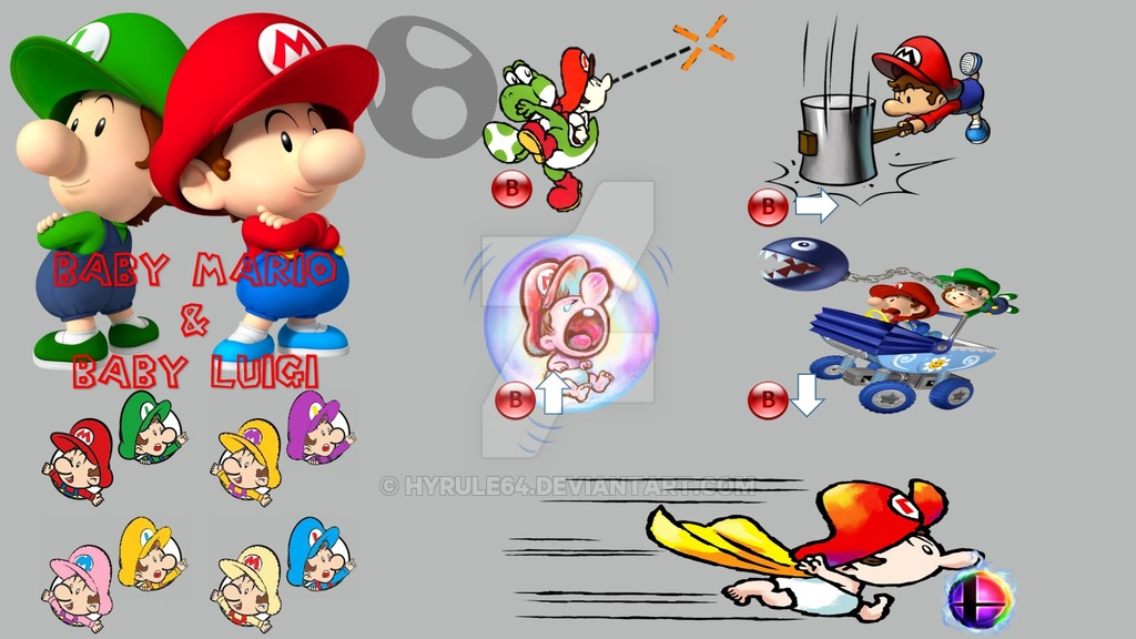 Baby mario diaper clipart vector freeuse stock Baby Mario and Baby Luigi Super Smash Bros Moveset by Hyrule64 on ... vector freeuse stock