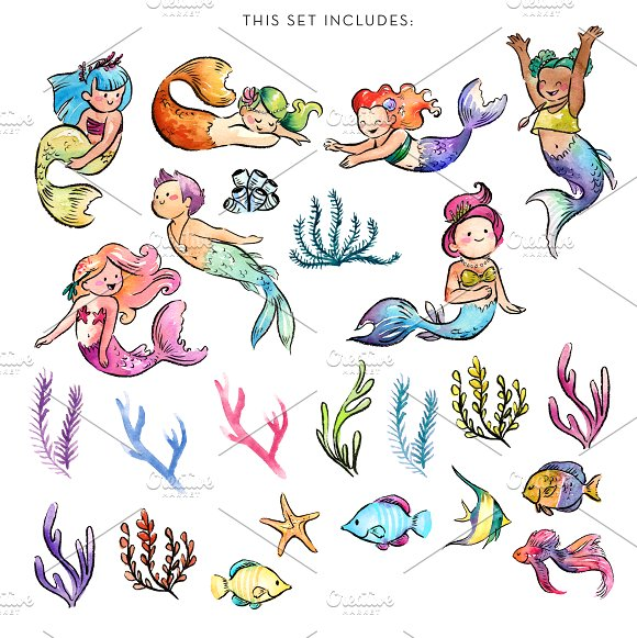 Mermaid baby clipart vector freeuse library Watercolor Baby Mermaids Clipart vector freeuse library