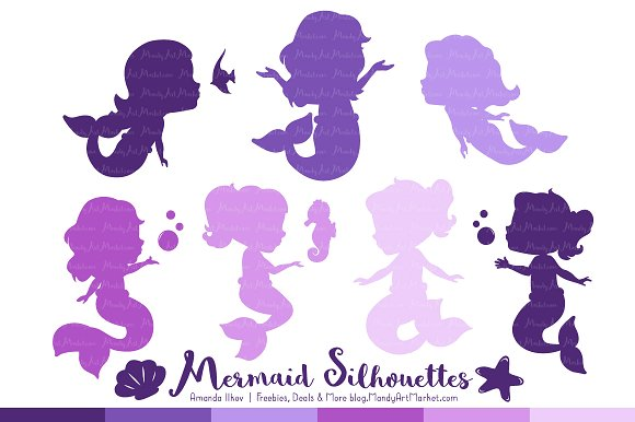 Baby mermaid silhouette clipart svg black and white Shades of Purple Mermaid Clipart ~ Creative Daddy svg black and white
