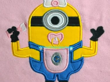 Minion with Pacifier Applique Machine Embroidery Design INSTANT ... black and white download