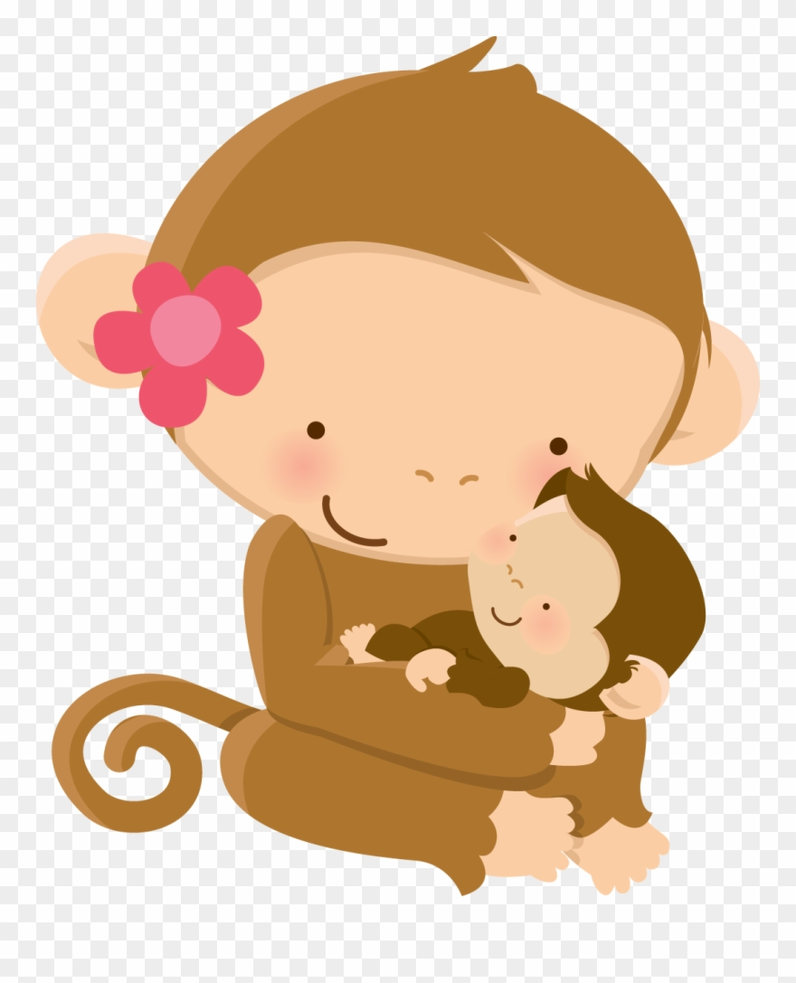 Mom and baby animals clipart png svg free download Cute Animal Clipart, Mother\'s Day Clip Art, Cartoon - Mother Monkey ... svg free download