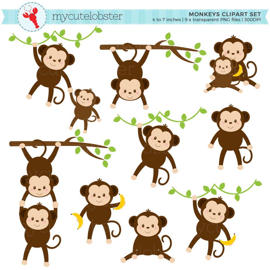 Watercolor baby monkey clipart