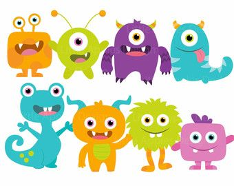 Baby monster clipart clip freeuse download Instant Download Monster Clip Art Digital Little by CorolladArt ... clip freeuse download
