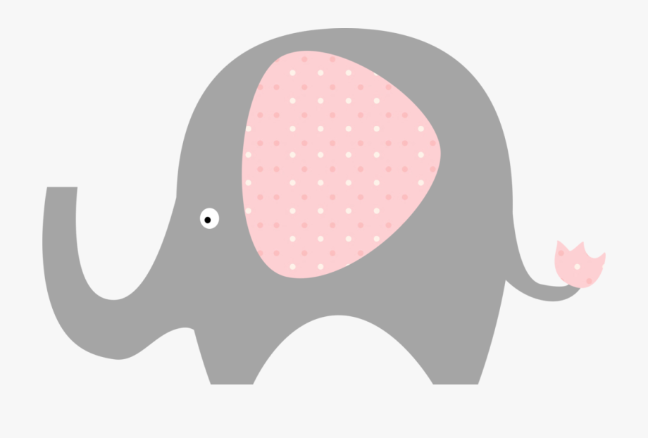 Pink and gray elephant baby shower clipart