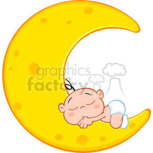 Baby on moon clipart banner black and white stock Royalty Free RF Clipart Illustration Cute Baby Boy Sleeps On Moon Cartoon  Character clipart. Royalty-free clipart # 396905 banner black and white stock