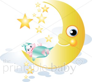 Baby on moon clipart svg black and white library Baby on Moon Clip Art | Celestial Baby Clipart svg black and white library