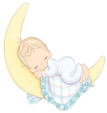 Baby on moon clipart jpg freeuse precious moments baby sleeping on crescent moon -- cute for baby ... jpg freeuse