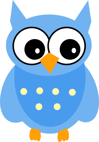 Baby owl clipart free picture black and white stock Cute Cartoon Owls | Blue Owl clip art - vector clip art online ... picture black and white stock