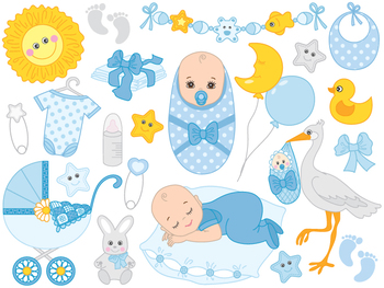 Baby pictures clipart boy clipart library stock Baby Boy Clipart - Digital Vector Baby Boy, Newborn clipart library stock