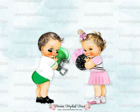 Baby playing football clipart image download Vintage Baby Football & Cheerleader | Light Skin Tone | Boy Girl ... image download