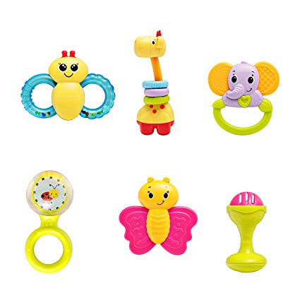 Baby rattle and teether clipart clipart royalty free infunbebe Baby Rattles Teether Toy, Grab, Shaker & Spin Rattle, First  Senses Shaking Bell Rattle Set for 3+ Months Infant, 6 Pcs clipart royalty free