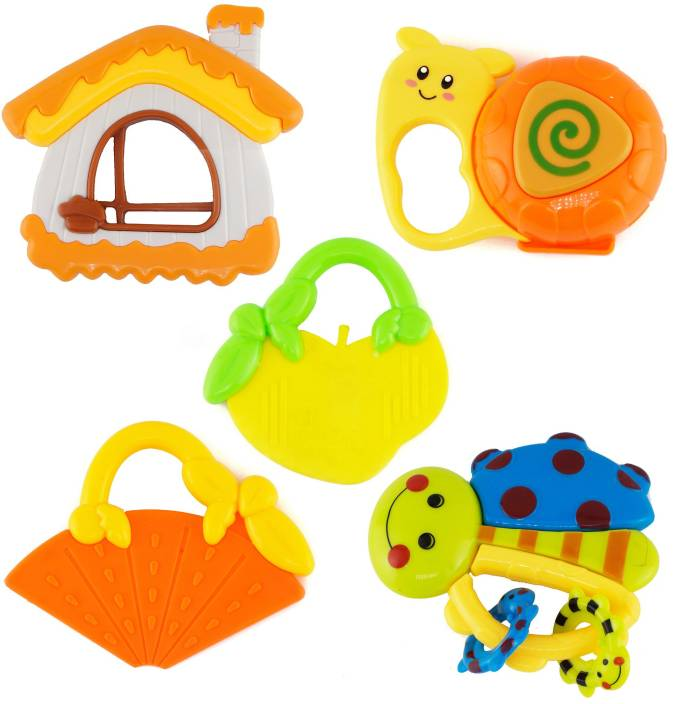 Baby rattle and teether clipart banner freeuse library Wishkey Baby Rattle and Teether Toys for Infants Non Toxic with Mild sound  Set of 5 Rattle banner freeuse library