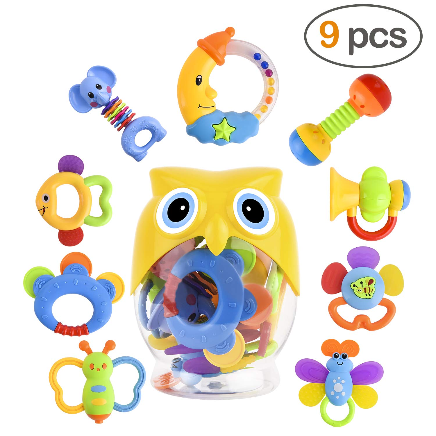 Baby rattle and teether clipart vector freeuse stock GotechoD Baby Rattles Teether 9 pcs Teether Rattle Set Packed in Bottle,  Shaker Grab Rattle Baby Infant Newborn Toys Early Educational Toys for 3,  6, ... vector freeuse stock