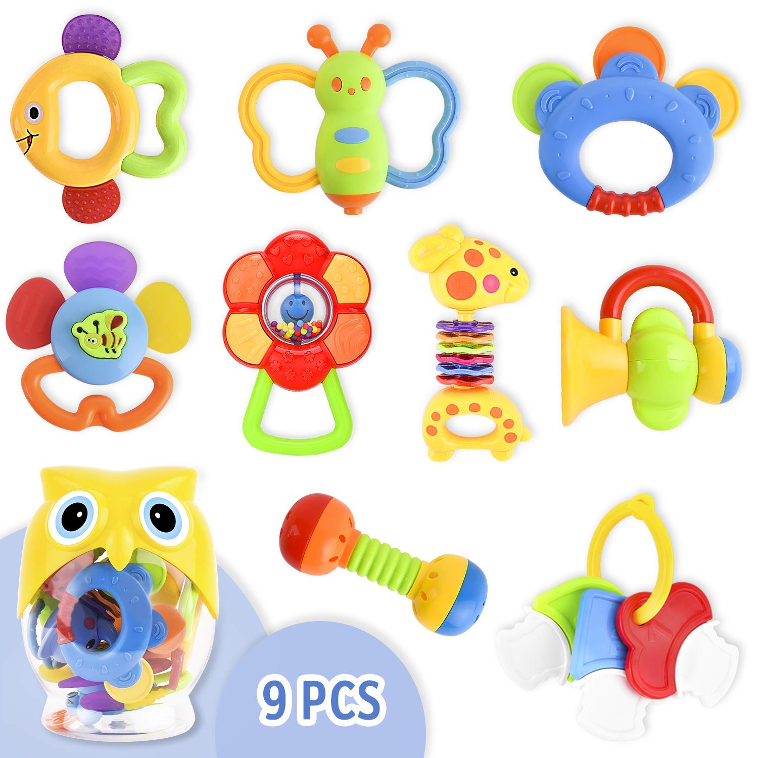 Baby rattle and teether clipart image free library 9 Pcs Toys for Infants Baby Rattle Teether Toy Set, Baby Mouth Toys Shake  and Grab Rattle Musical Toys with Owl Storage Bottle Baby First Rattle and  ... image free library