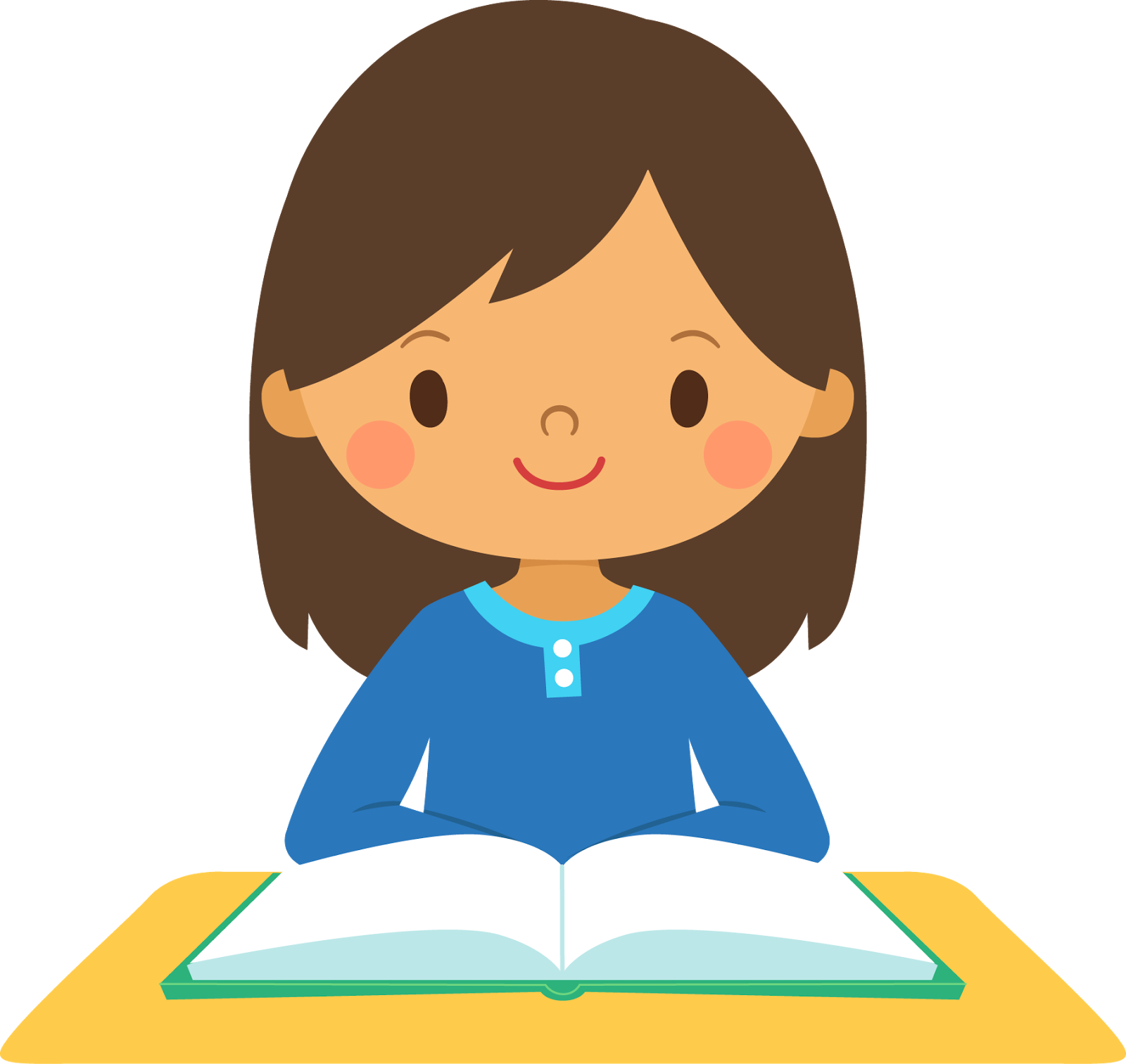 Girl going to school clipart png royalty free download smiling girl at a desk with a book | Books & Libraries | Pinterest ... png royalty free download