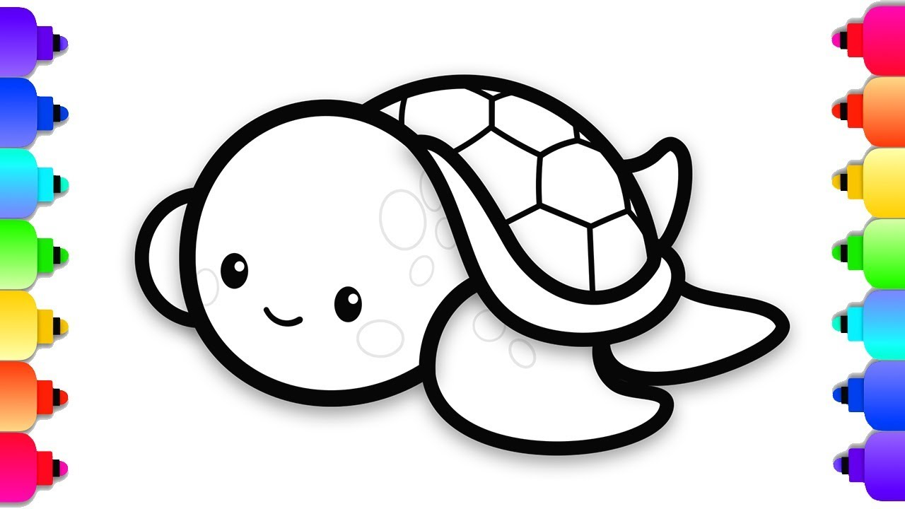 Baby sea turtle clipart black and white png black and white library How to Draw a Baby Sea Turtle Easy Step By Step for Kids | Cute Baby Sea  Turtle Coloring Page png black and white library