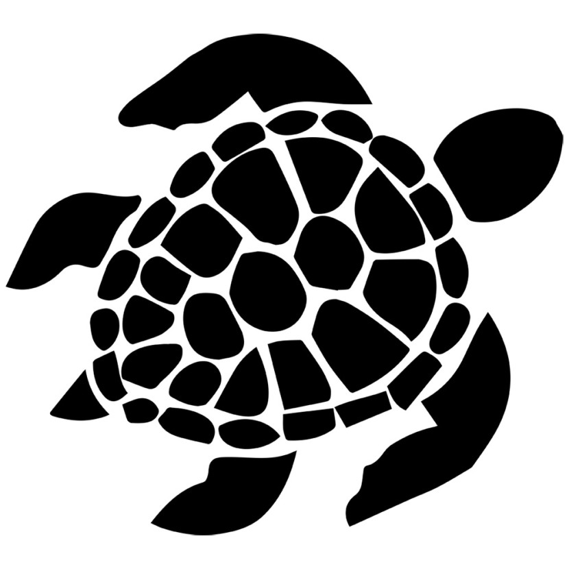 Sea turtle with a black and white clipart