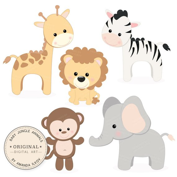 Baby animal clipart svg black and white stock Professional Baby Jungle Animals Clipart & Vector Set - Baby Shower ... svg black and white stock