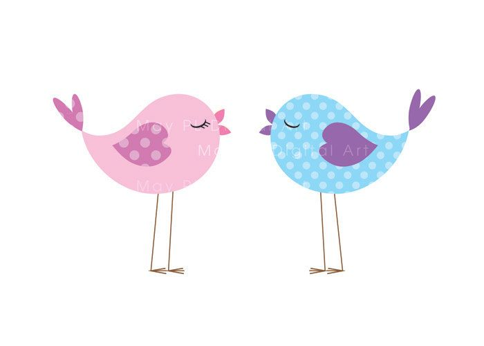 Baby shower bird clipart image black and white library Bird Clip Art Animal Clipart Digital Cute Love Pastel Pink Baby Bird ... image black and white library