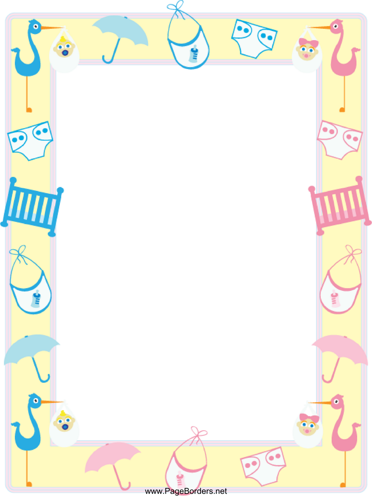 Baby shower borders clip art image royalty free Free baby shower clipart borders - ClipartFest image royalty free