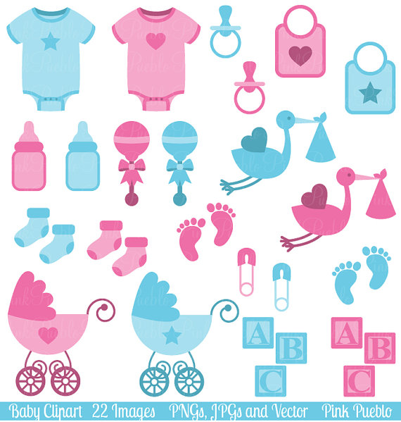 Kid boy and girl. Baby shower clip art clipart
