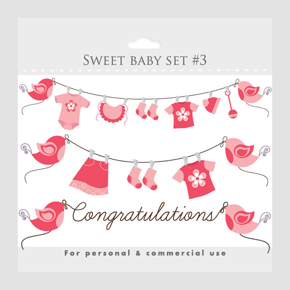 Baby shower clipart girl jpg free stock Baby girl clothesline shower clipart - ClipartFest jpg free stock