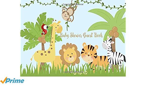 Baby shower clipart safari animals graphic free download Baby Shower Guest Book: Safari Jungle Welcome Baby cute animals Sign ... graphic free download