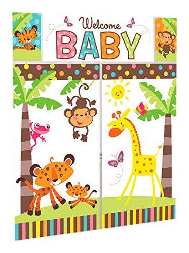 Baby shower clipart safari animals clip art download Jungle Animals Scene Setter Wall Decorating Kit   Baby Shower Party clip art download