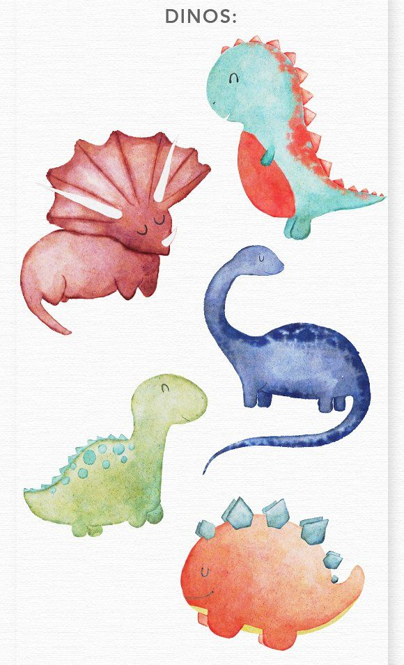 Baby shower dinosaur clipart banner black and white download Watercolor Dinosaur Clipart Graphics by Wooly Pronto on ... banner black and white download