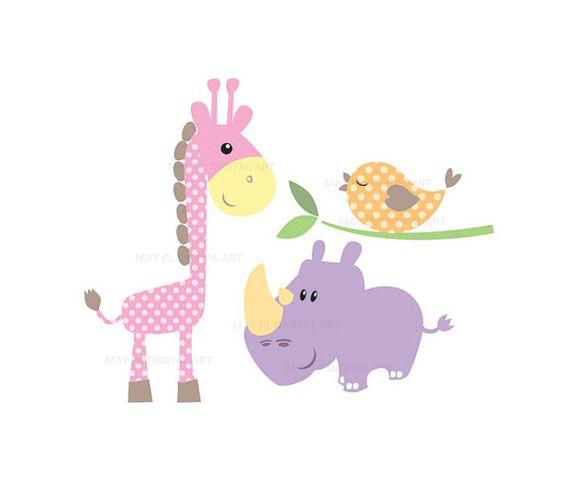 Baby shower giraffe clip art image freeuse download Baby Animals Clipart DIY Baby Shower Pastel Cute Elephant Giraffe ... image freeuse download
