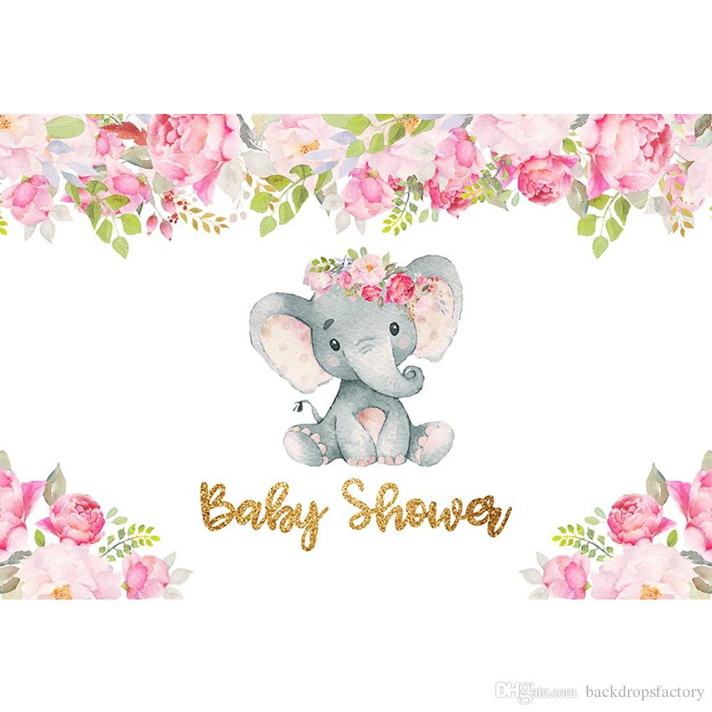 Baby shower girl background clipart png black and white download Newborn Baby Shower Elephant Girl Backdrop Printed Pink Flowers Green  Leaves Customized Birthday Party Photo Booth Background png black and white download