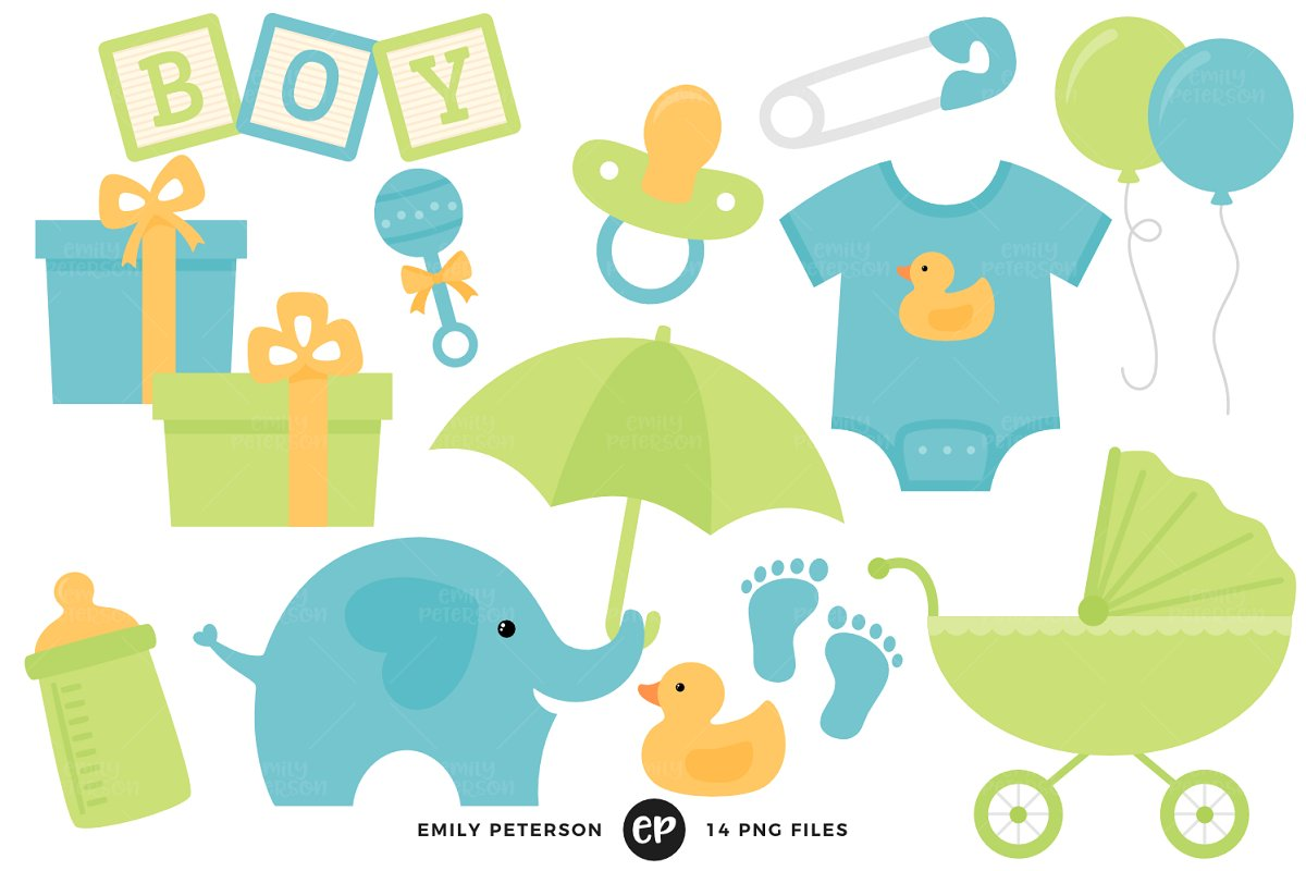 Baby shower graphics clipart
