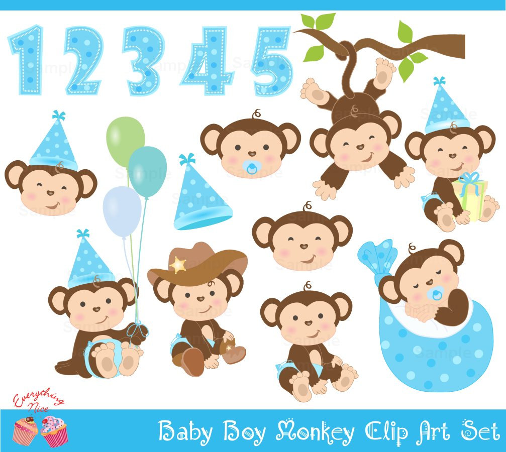 Clipart kid boy set. Baby shower monkey clip art