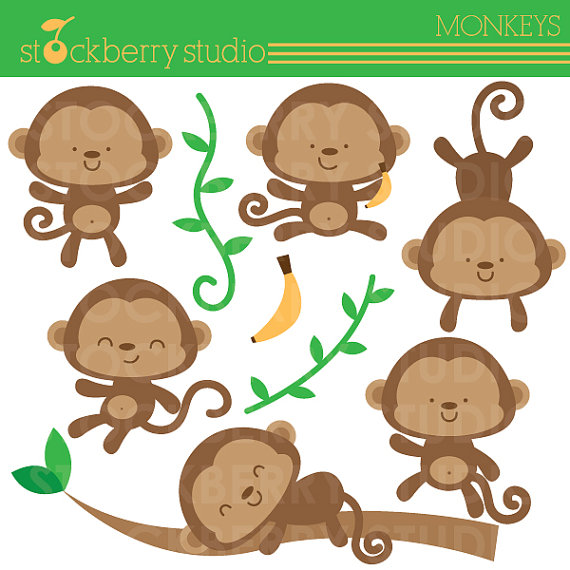 Baby shower monkey clip art. Clipart kid monkeys set