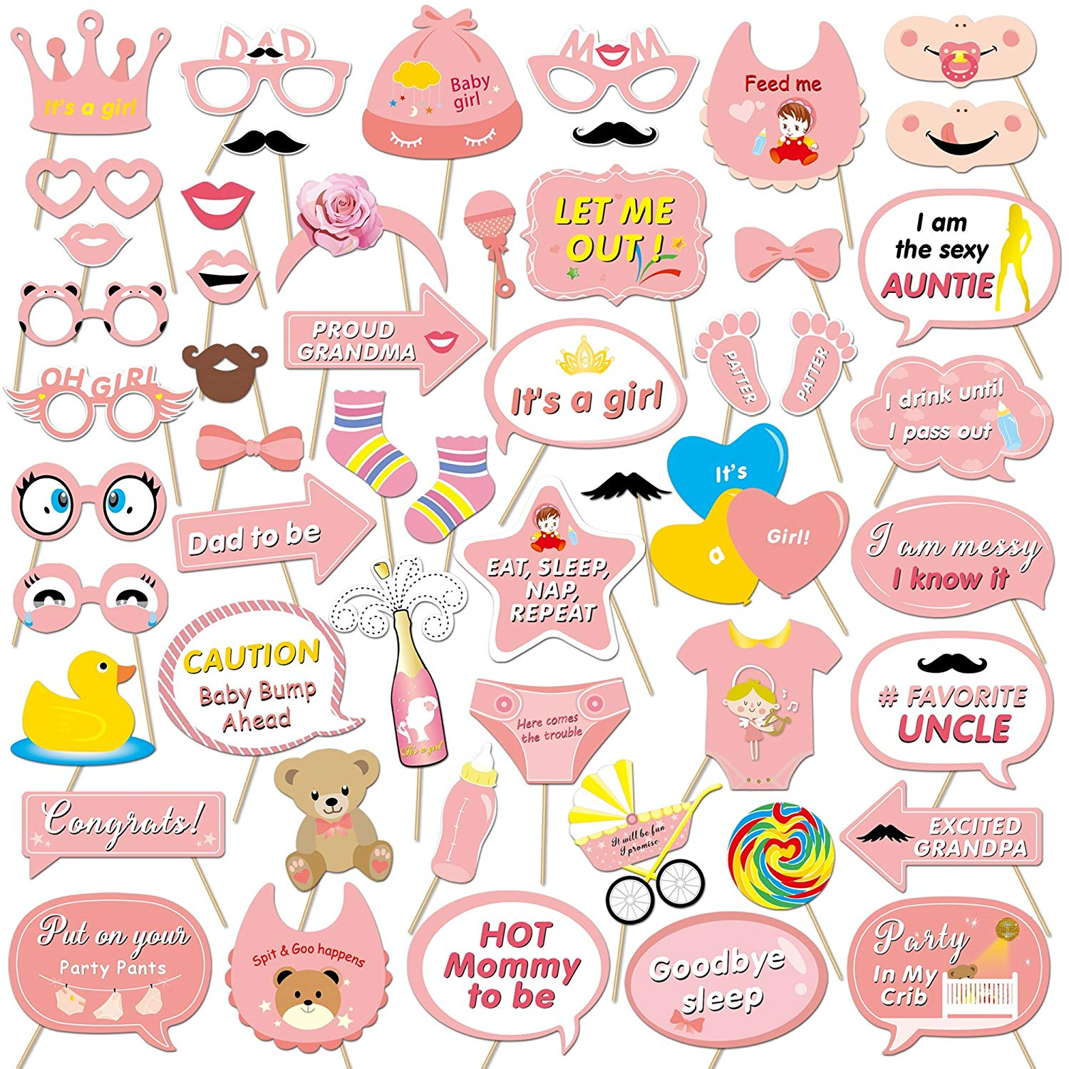 Baby shower ni a clipart clip library library Konsait 53pcs Baby Shower Photo Booth Props Accessories Pink Lovely Baby  Bottle Masks with Sticks for Baby Shower Decoration New Born Girls Party ... clip library library