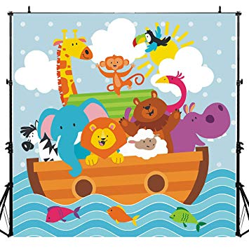 Baby shower noahs ark animals clipart clipart transparent stock Noah\'s Ark Party Animals Photography Backdrop for Baby Shower, 6x6FT, Kids  Wild Zoo Decoration Background Party Supplies, Photo Booth Studio Props ... clipart transparent stock