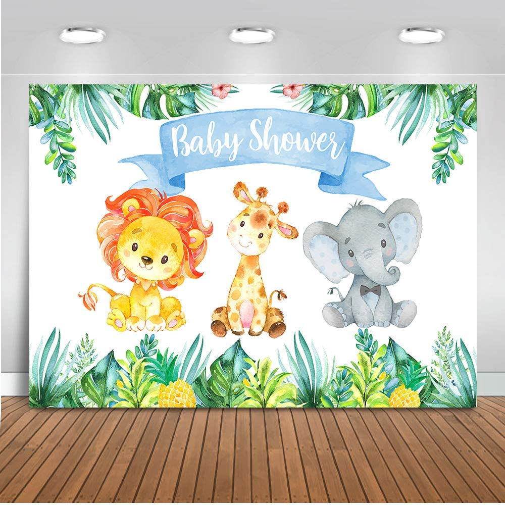 Baby shower safari background clipart image black and white library Mehofoto Safari Jungle Baby Shower Backdrop Elephant Party Animals  Photography Background 7x5ft Vinyl Watercolor Animals Baby Shower Party  Banner ... image black and white library